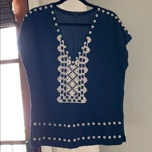 J crew v neck with embroidery size M exc condition